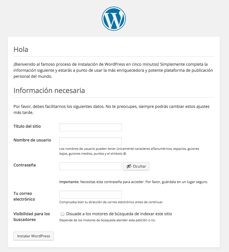 tutorial WordPress pantalla instalacion WordPress
