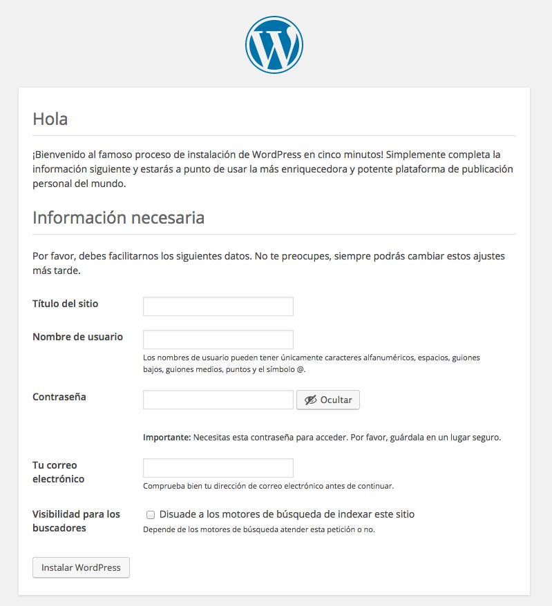 tutorial WordPress pantalla instalacion WordPress