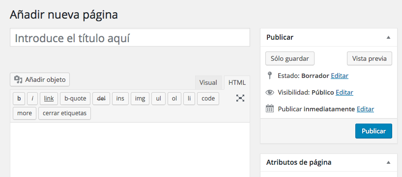 tutorial WordPress editor crear pagina nueva