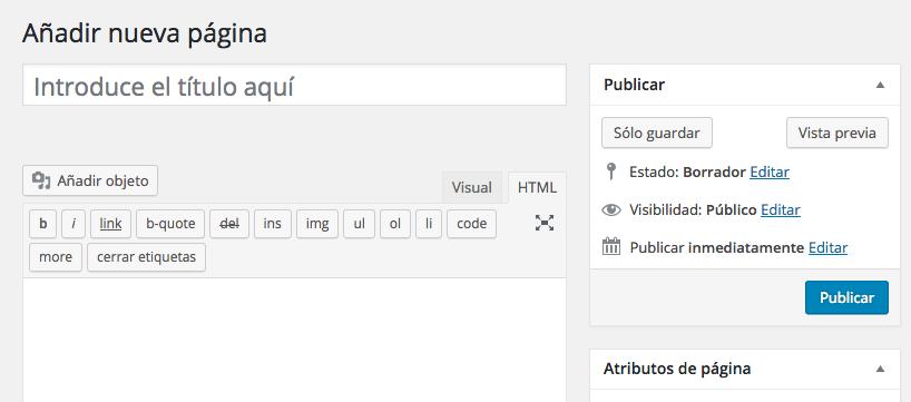 tutorial WordPress editor crear pagina nueva