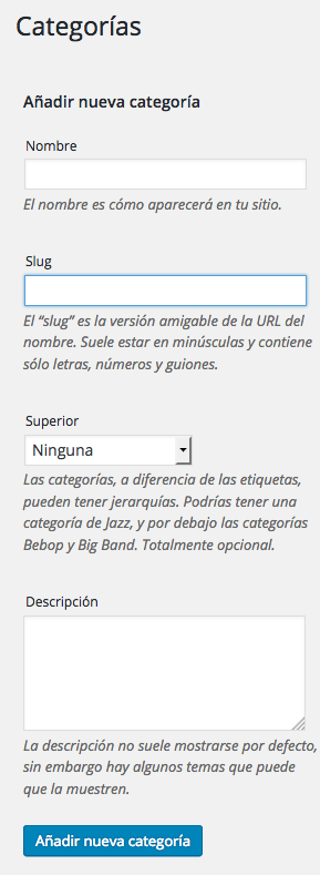 tutorial WordPress añadir categoria WordPress