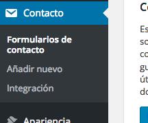 tutorial WordPress plugin contact form 7 administración