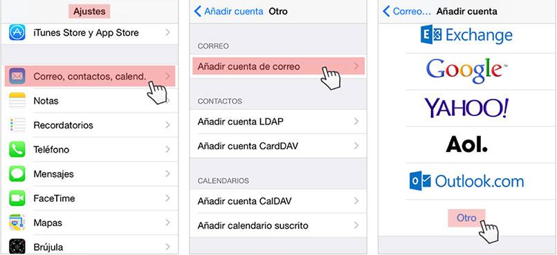 Añadir cuenta para iphone
