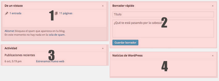 Opciones del panel de wordpress