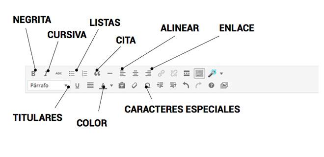 Opciones para editar los textos con wordpress