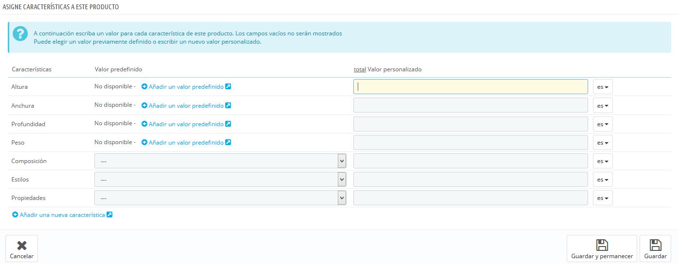 Funcionalidades catálogo de producto Prestashop