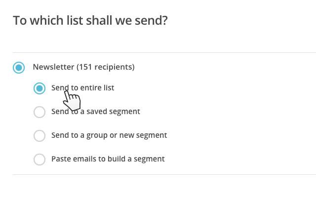 Elige el grupo al que quieres enviar la newsletter